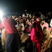 Residents gather for shelter in front of the town hall following an earthquake at Mashiki town in Kumamoto prefectuire on April 14, 2016. The strong 6.4-magnitude earthquake struck at 9:26 pm (1226 GMT) in Kumamoto, central Kyushu at a relatively shallow depth of 10 kilometres (6.2 miles), the Japan Meteorological Agency said. ==JAPAN OUT== / AFP PHOTO / JIJI PRESS / JIJI PRESS